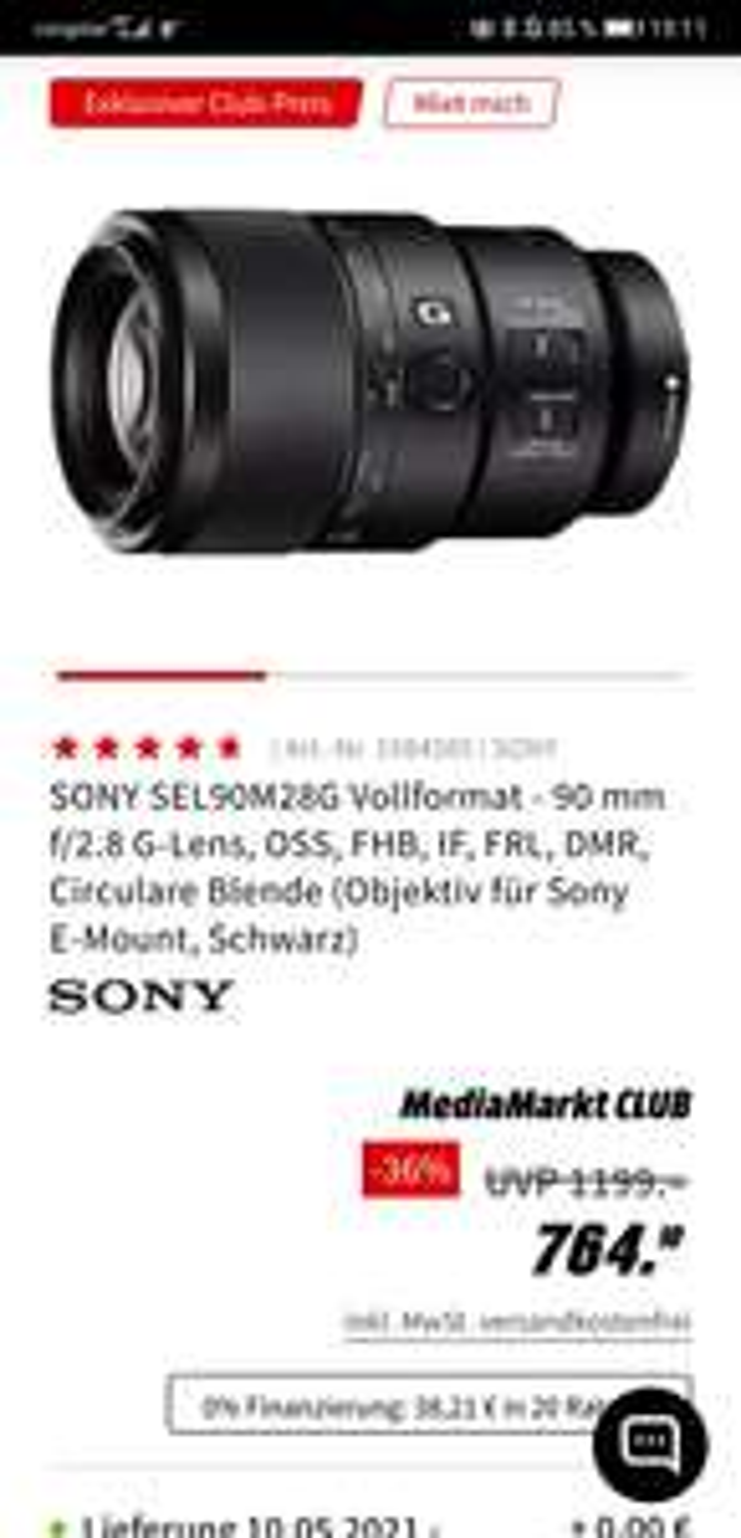 Objektiv Sony 90mm 2.8 Macro