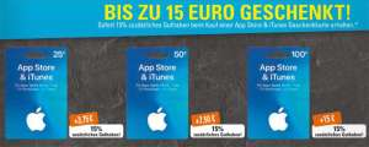 App Store & iTunes Guthaben mit zusätzliche 15% Bonusguthaben, EDEKA Südwest