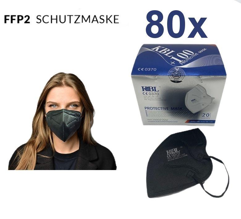 80x FFP2 Masken schwarz mit CE Zertifikat 0370 (Spanien) für Stückpreis 0,30€ Versand aus DE
