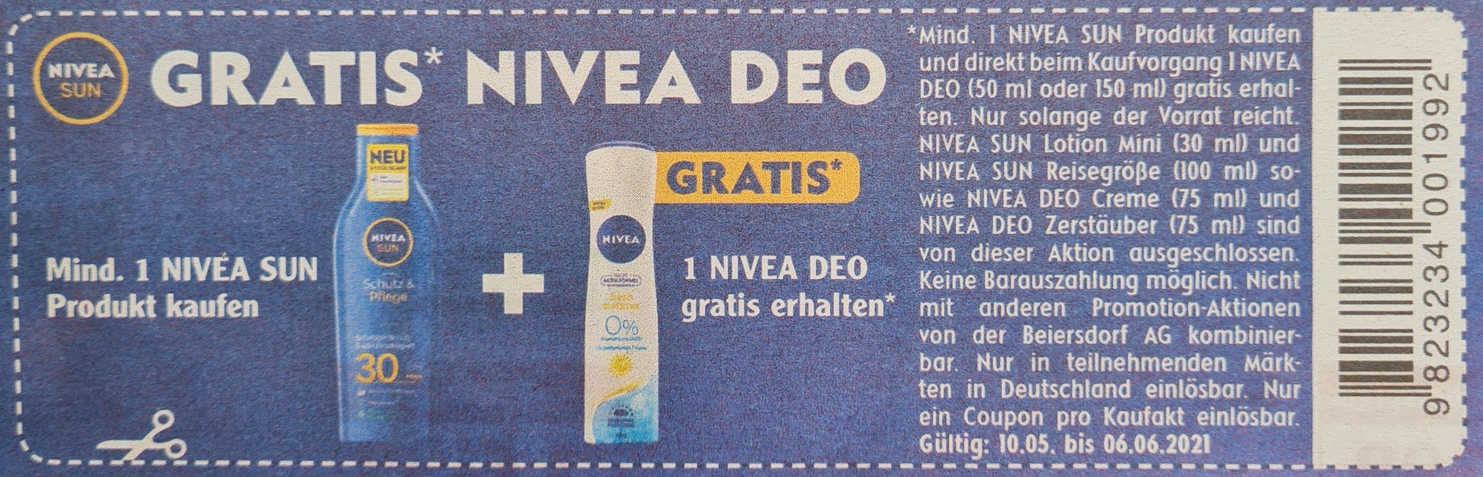 Gratis Nivea Deo beim Kauf von mindestens 1 Produkt Nivea Sun ab 10.05 bis 06.06 Globus