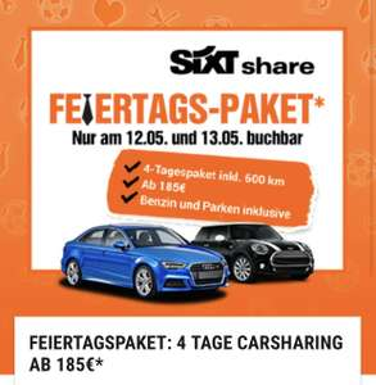 [Berlin, München, Hamburg] SIXT Share 4 Tage Feiertagsmiete 185€ inkl. Benzin