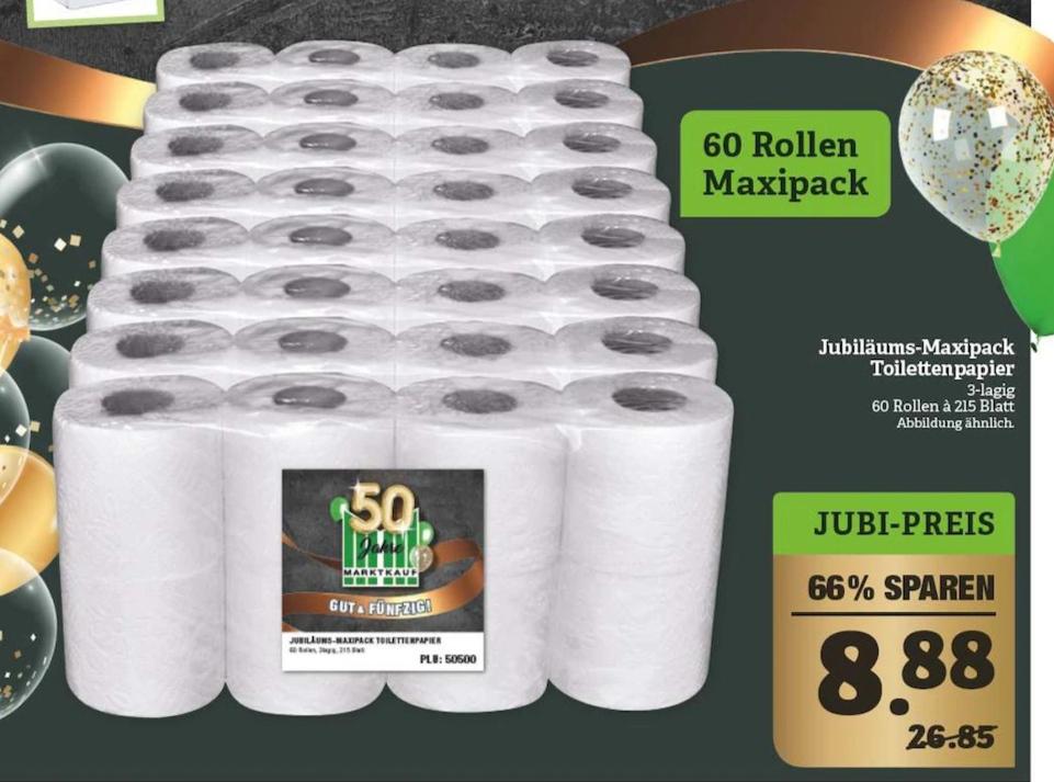 [Marktkauf Nordbayern] Toilettenpapier 3-lagig 60 Rollen à 215 Blatt