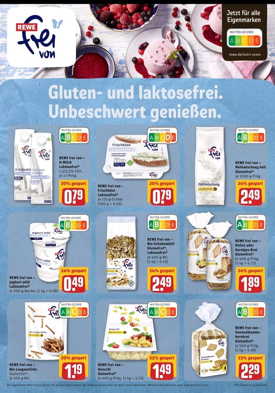 Frei von Produkte im Angebot bei REWE (laktose- und glutenfrei)