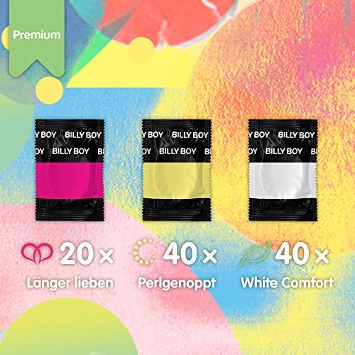 Amazon Prime: Billy Boy Premium Mix , 100 Kondome , white comfort, Länger Lieben und Perlgenoppt, Transparent