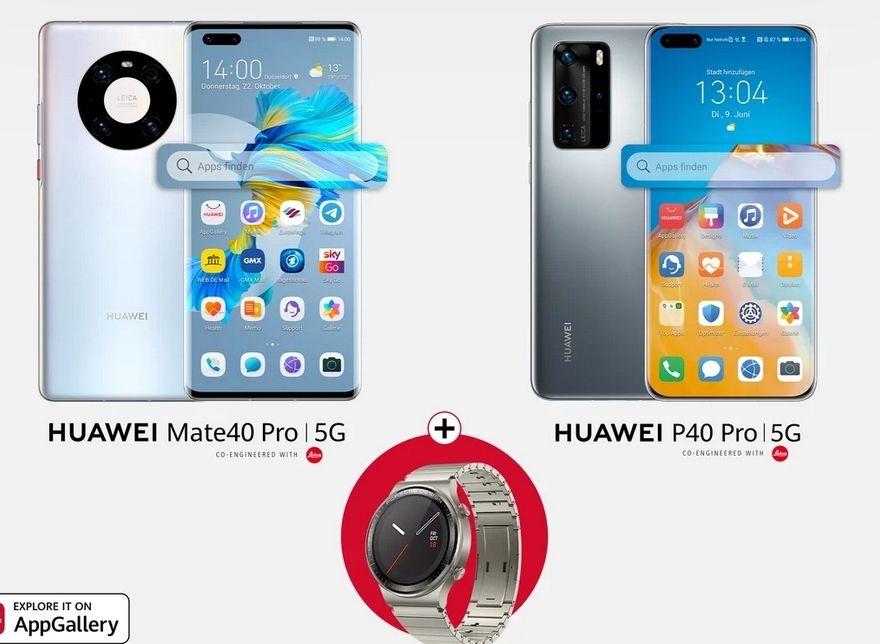 [Kein Google] Huawei P40 Pro mit Watch GT 2 Porsche Design im O2 PremiumSim (2GB LTE 50Mbit, Allnet/SMS, VoLTE) mtl. 27,99€ einm. 49,99€