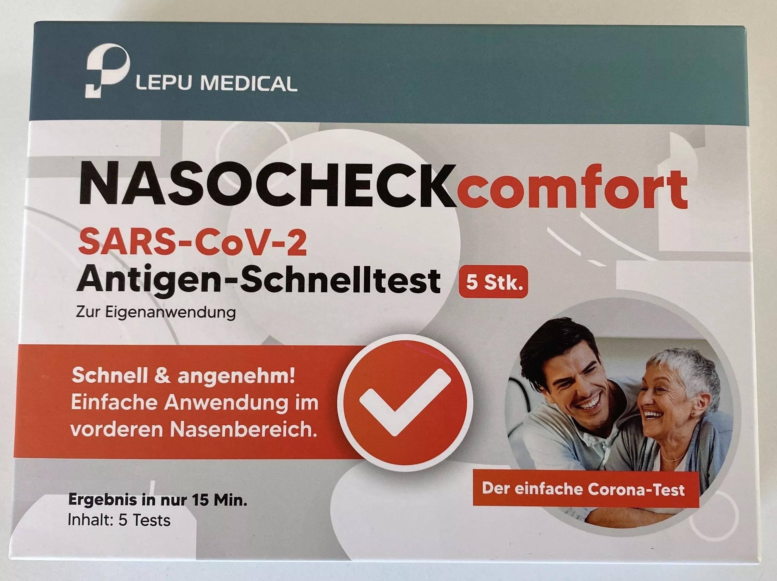 5er Pack SARS-CoV-2 Antigen-Schnelltest / LEPU MEDICAL® nasocheck comfort