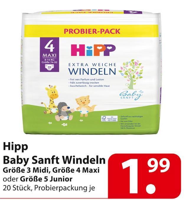 [Famila Nordost] HiPP Extra Weiche Windeln 20 Stück Probierpack Gr. 3-5 für 0,00€ mit Coupon