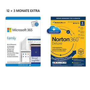 Microsoft 365 Family 12 + 3 Monate Download Code + Norton 360 Deluxe/McAfee Total Protection 2020