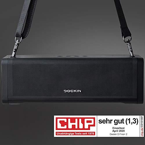 [ Amazon / Prime ] DOCKIN® D FINE+ 2 Hi-Fi Bluetooth Lautsprecher / 50W / Outdoor/Indoor / austauschbarer Akku / integrierte Powerbank