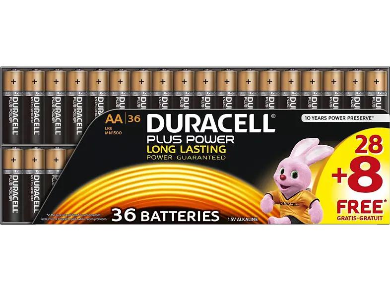 DURACELL Plus Power AA Mignon Batterie, Alkaline, 1.5 Volt 36 Stück [MediaMarkt]