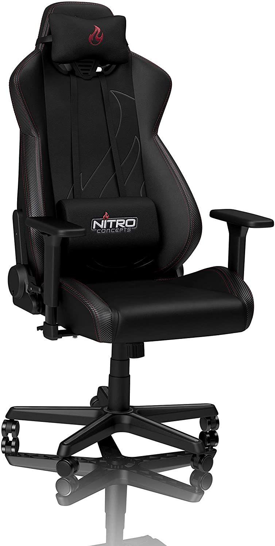 Amazon NITRO CONCEPTS S300 EX Stuhl Gamingstuhl Bürostuhl Schreibtischstuhl Chefsessel Kunstleder Carbon Black