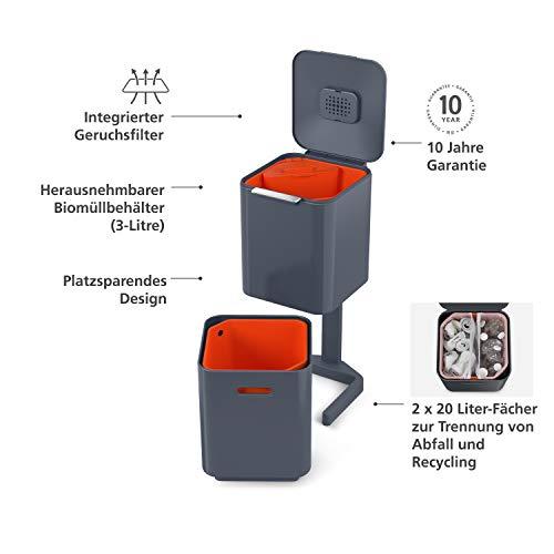 JosephJopseh / Joseph Joseph Totem Compact 40L (20+20) Mülleimer / Recyclingeinheit graphite