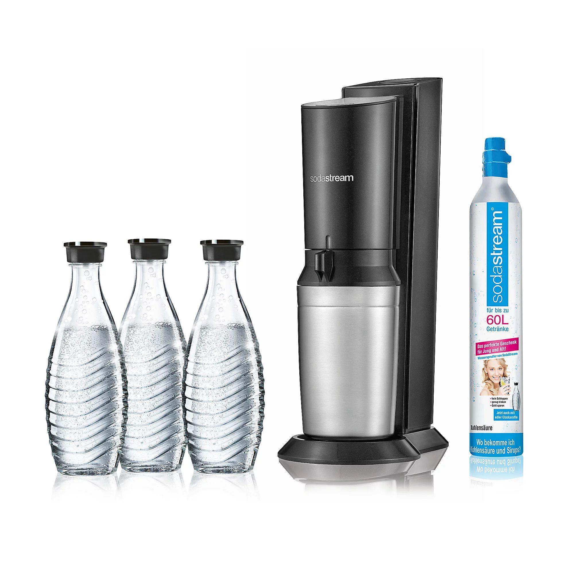 [QVC Neukunden] Sodastream Wassersprudler Set Crystal 2.0 titan (3x Glaskaraffen 0,615L + Zylinder)