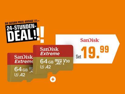 [Doppelpack] SanDisk Extreme R160/W60 microSDXC 64GB Kit, UHS-I U3, A2, Class 10 (SDSQXA2-064G-GN6MA)