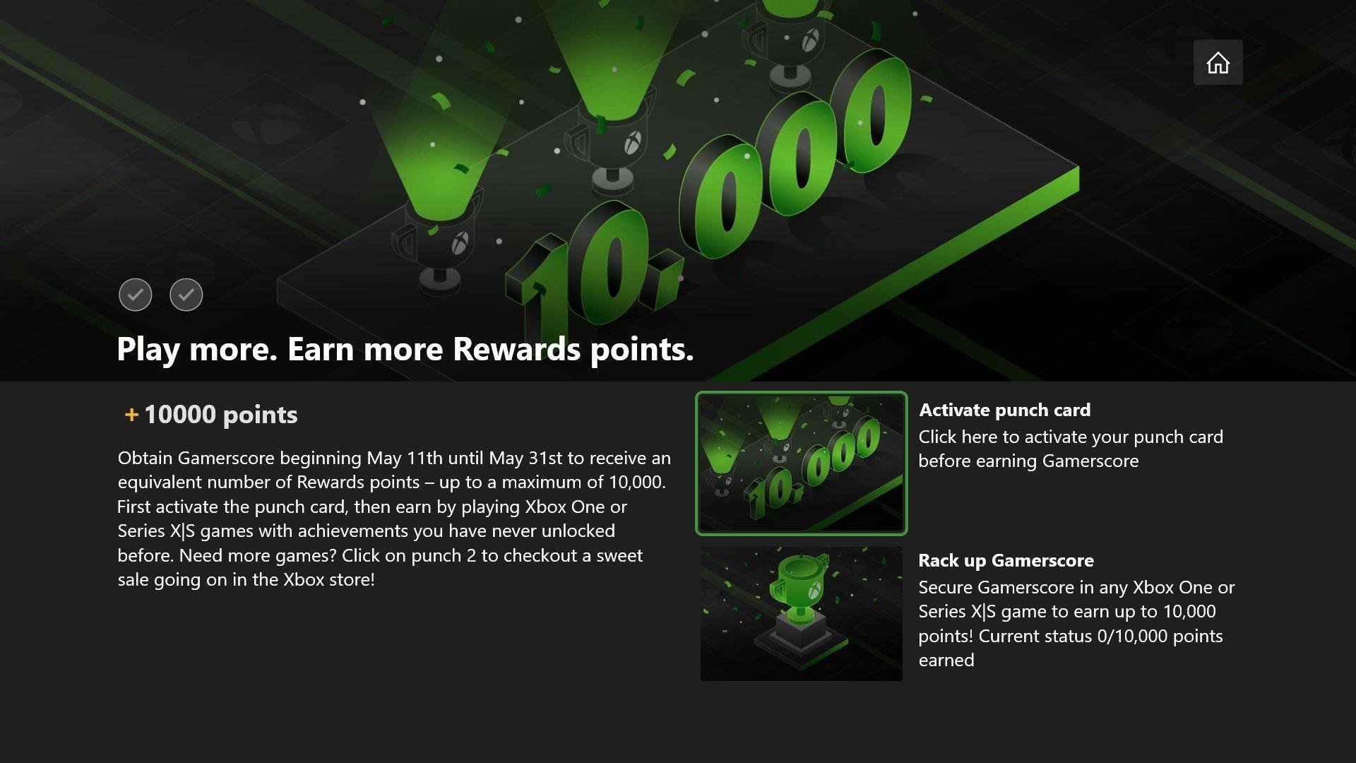 (eingeladene User) Microsoft Rewards Gamerscore Punch Card bis zu 10.000 Rewards Punkte (Xbox live Gold /Gamepass)