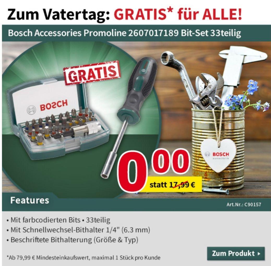 GRATIS Bit-Set statt 17,99 Euro ab MBW von 79,99 Euro, Bosch Accessories Promoline 2607017189 Bit-Set 33teilig bis 17.05 Voelkner