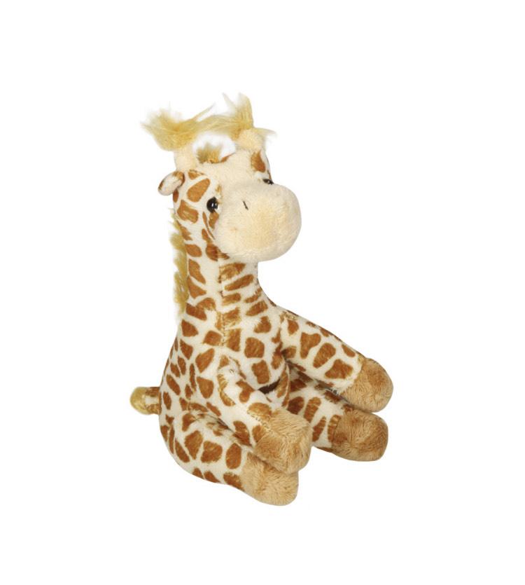 3x weiche Giraffe Plüsch 18 cm groß in Hellbraun Kuscheltier Giraffe mit Tasche