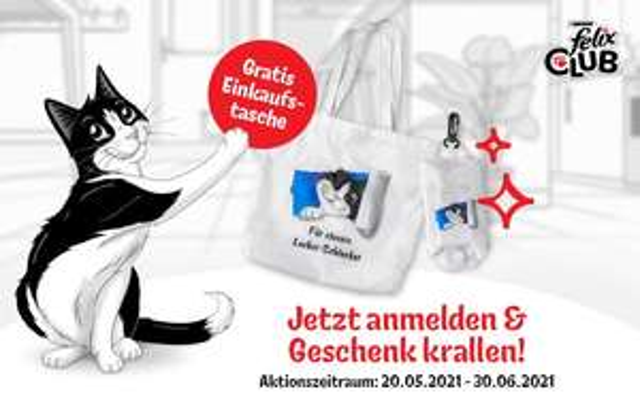 Gratis Einkaufstasche bei Anmeldung im Felix Club (Neukunden) + 50 Pfoten