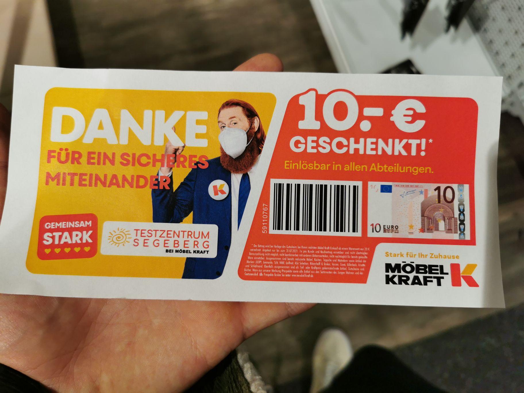 (Lokal Bad Segeberg) 10€ Möbel Kraft Gutschein mit 20€ Mindesteinkaufswert bei Test im Testzentrum