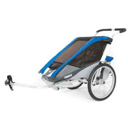 (Babymarkt) THULE Kinderfahrradanhänger Chariot Cougar 2 blau oder rot, auch als Einsitzer