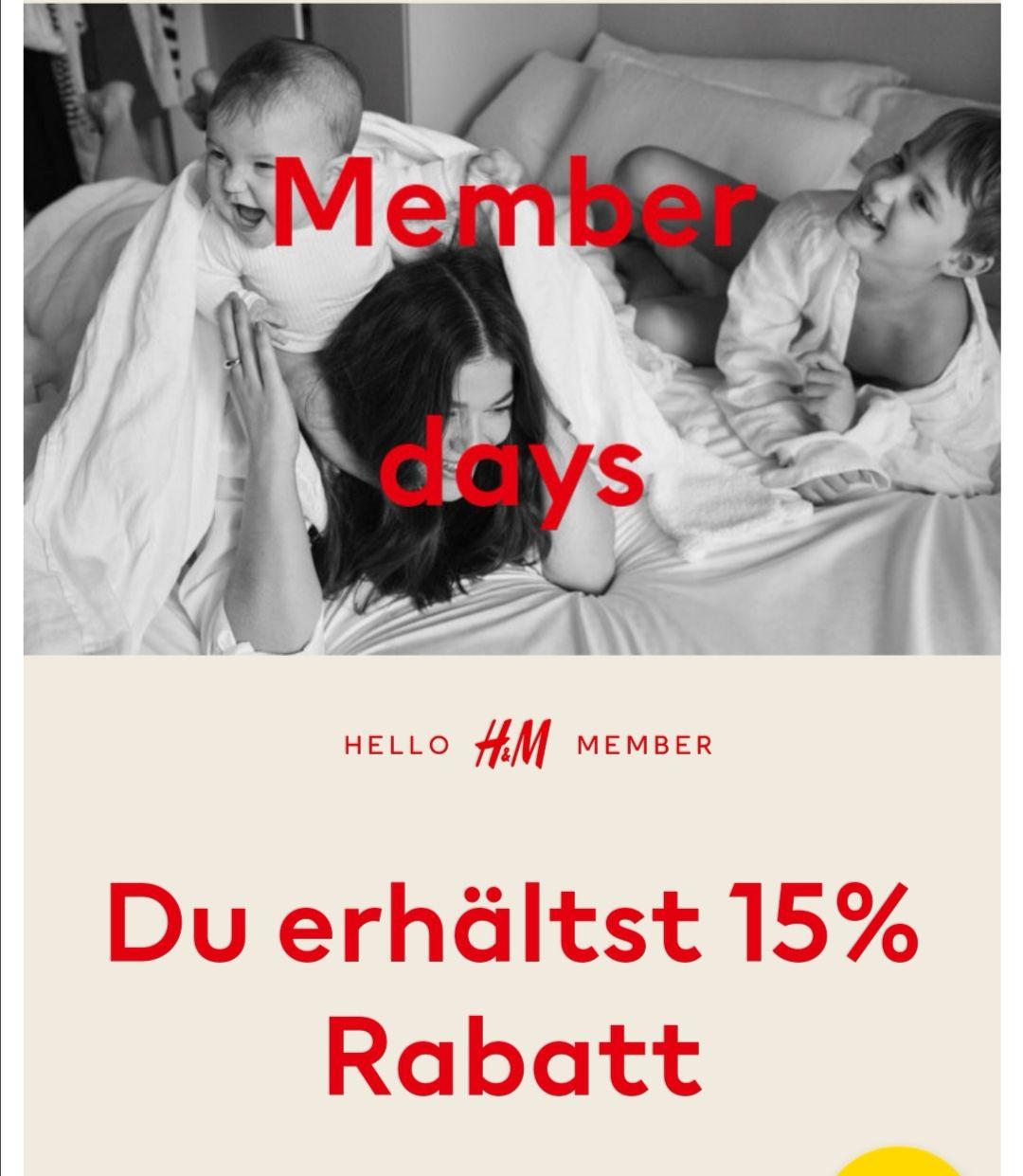H&M Memberdays 15% Rabatt