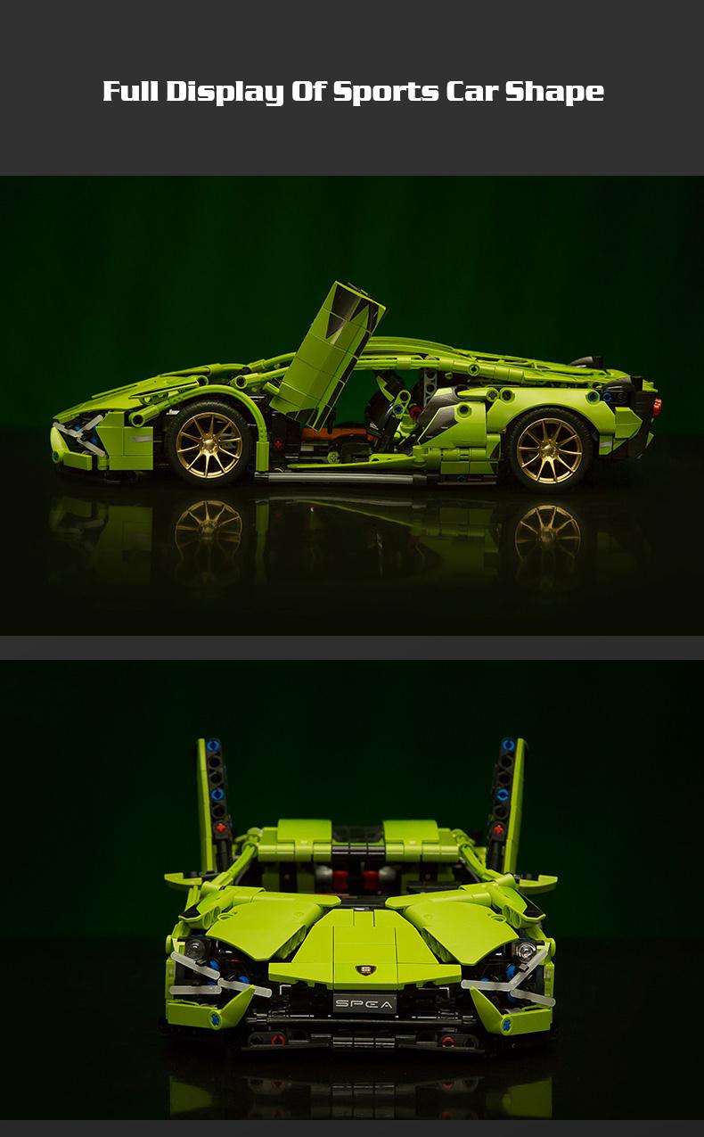Klemmbausteine 1254 Teile Sportscar, Rennauto 10-Tage Lieferung, mit Motor 46.44€, 16.5x35.5 cm