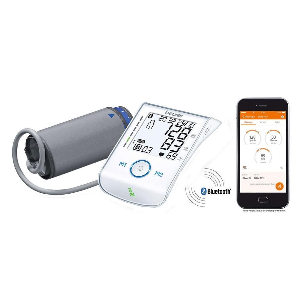 BEURER Oberarm-Blutdruckmessgerät BM85BT Android iOS extra große Manschette Ruheindikator
