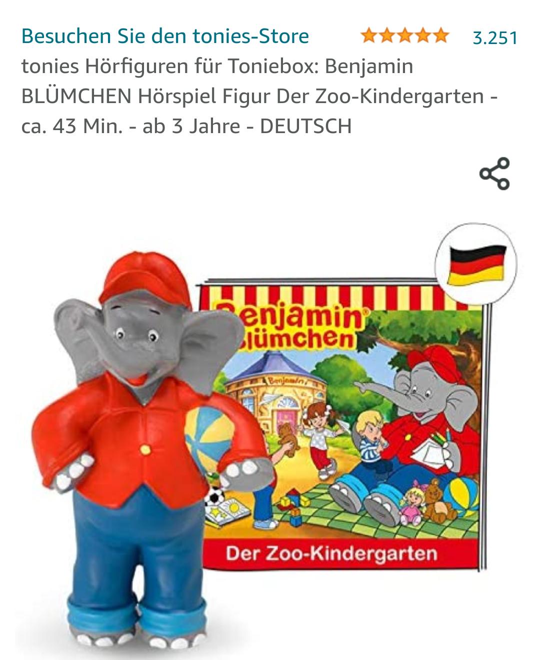 Amazon Prime tonies Hörfiguren für Toniebox: Benjamin BLÜMCHEN Hörspiel Figur Der Zoo-Kindergarten - ca. 43 Min. - ab 3 Jahre - DEUTSCH