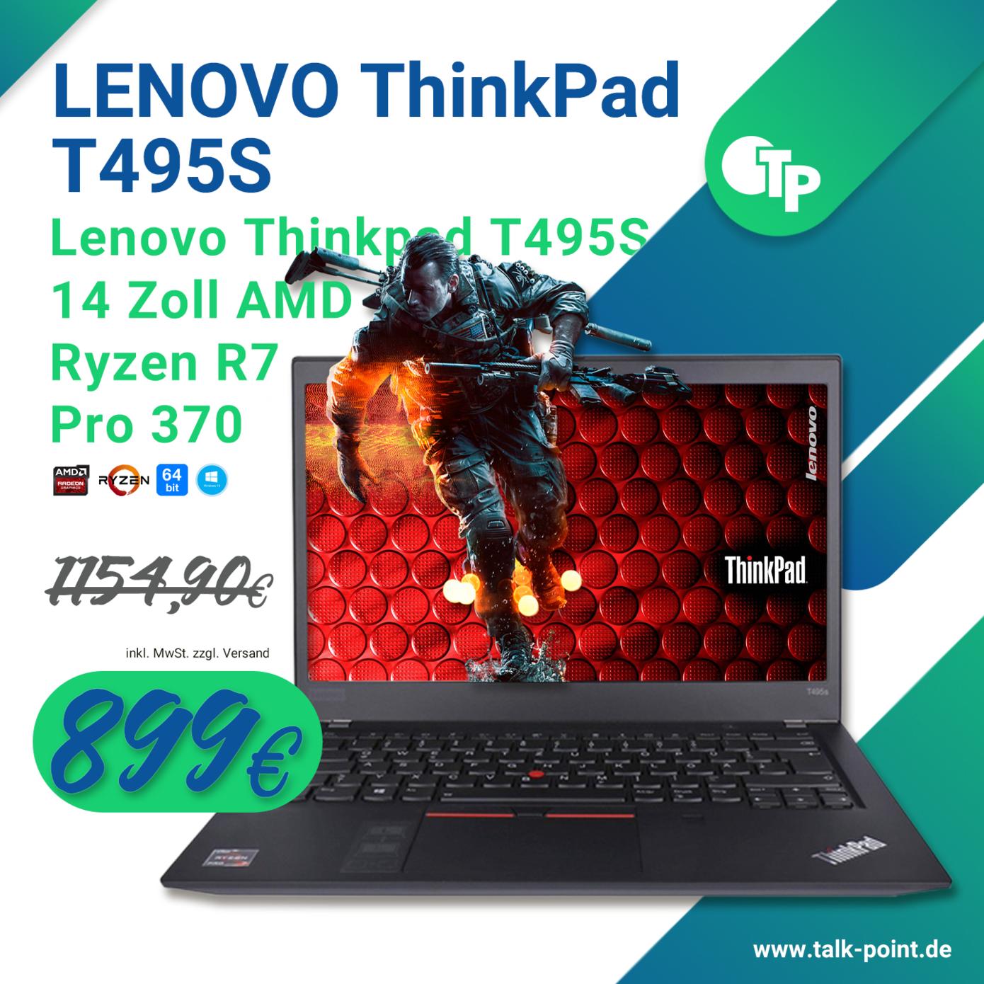 Lenovo Thinkpad T495S 14 Zoll AMD Ryzen R7 Pro 370, 16GB RAM, 512GB SSD
