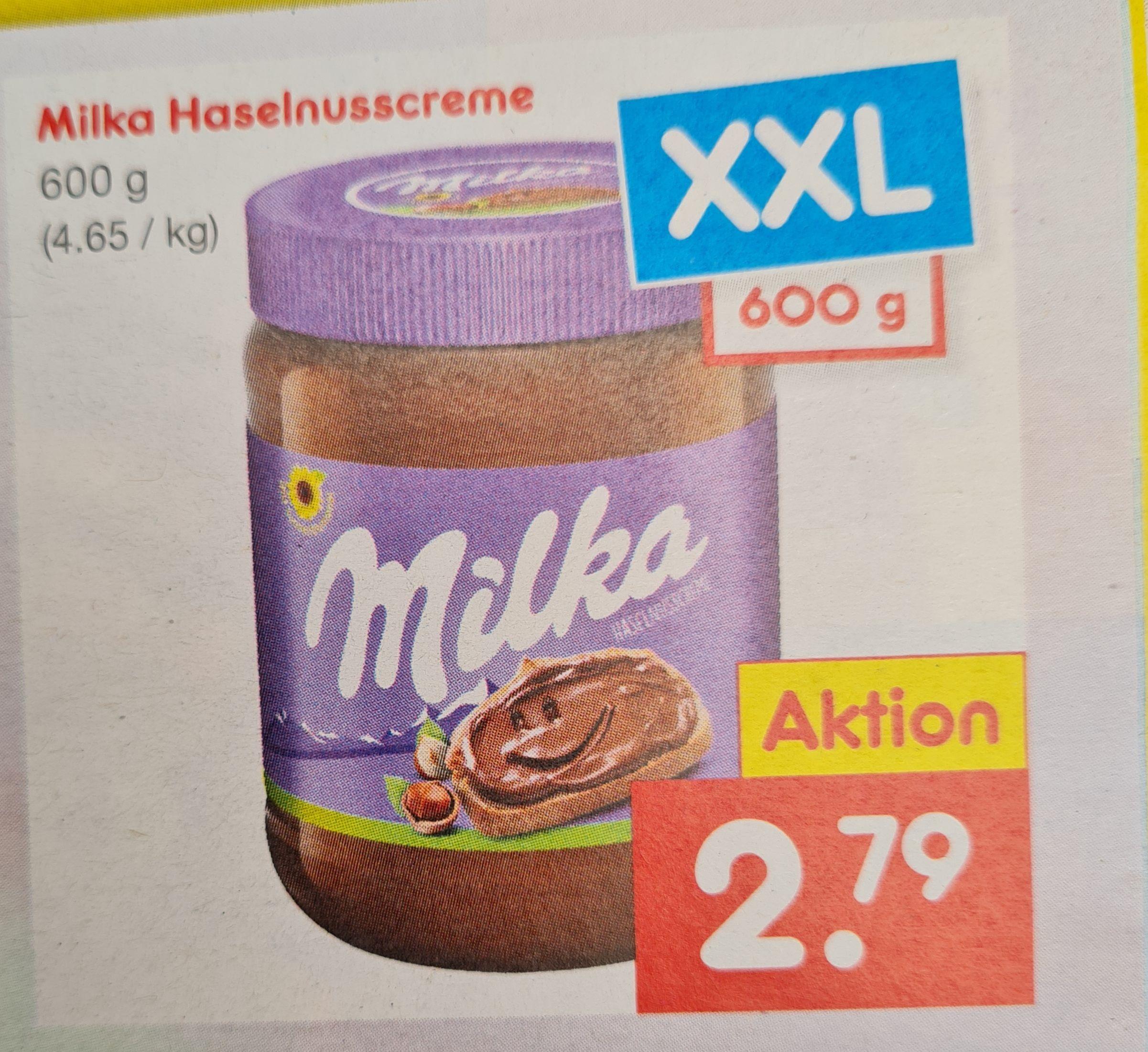 Milka Haselnusscreme 600 g XXL ab 20.05 Netto MD