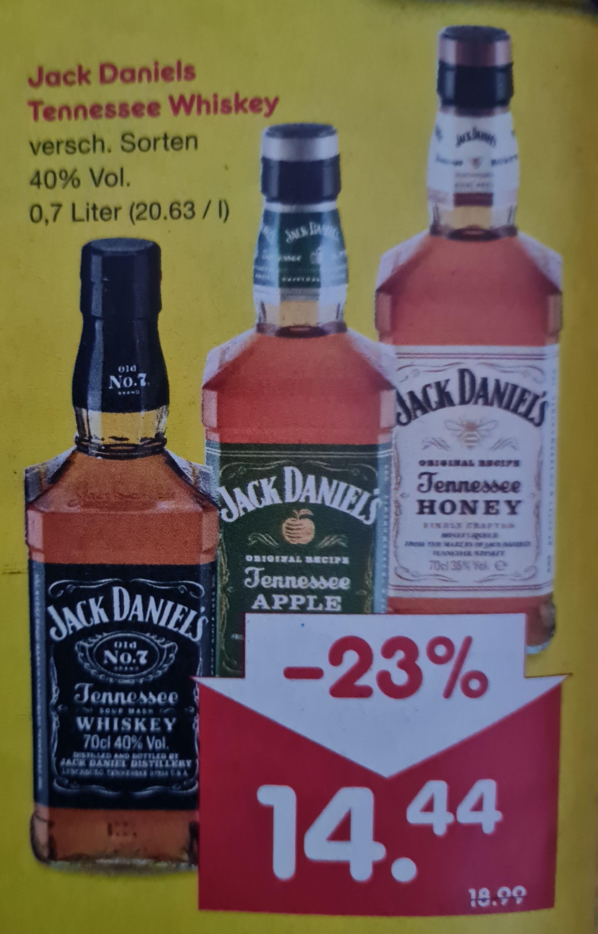 Jack Daniels Tennessee Whiskey 40% 0,7 l und Milka Schokolade 0,57€ statt 1,15€ nur am 22.05 Netto MD