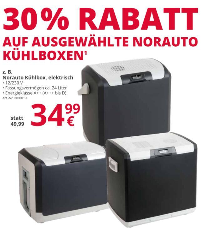 [ATU] 30% Rabatt auf verschiedene elektrische Kühlboxen von Norauto mit 230V/12V, Größe: 24L / 28L oder 40L