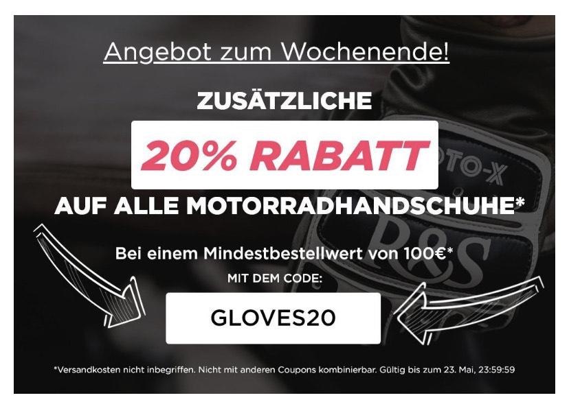 XLMOTO 20% auf Motorradhandschuhe