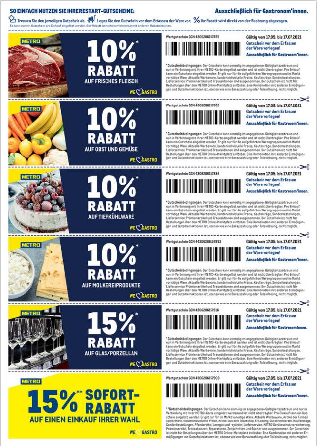 METRO 10 bis 15% Rabatt auf Frischfleisch-O&Gemüse,TK,Mopro,Glas etc