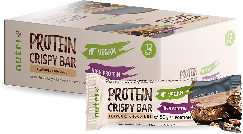85x 50g Nutri-Plus Vegan Protein Crispy Bar (MHD 31.07.) für 53,07€ inkl. Versand (~0,62€/Riegel, ~14g Protein/Portion)