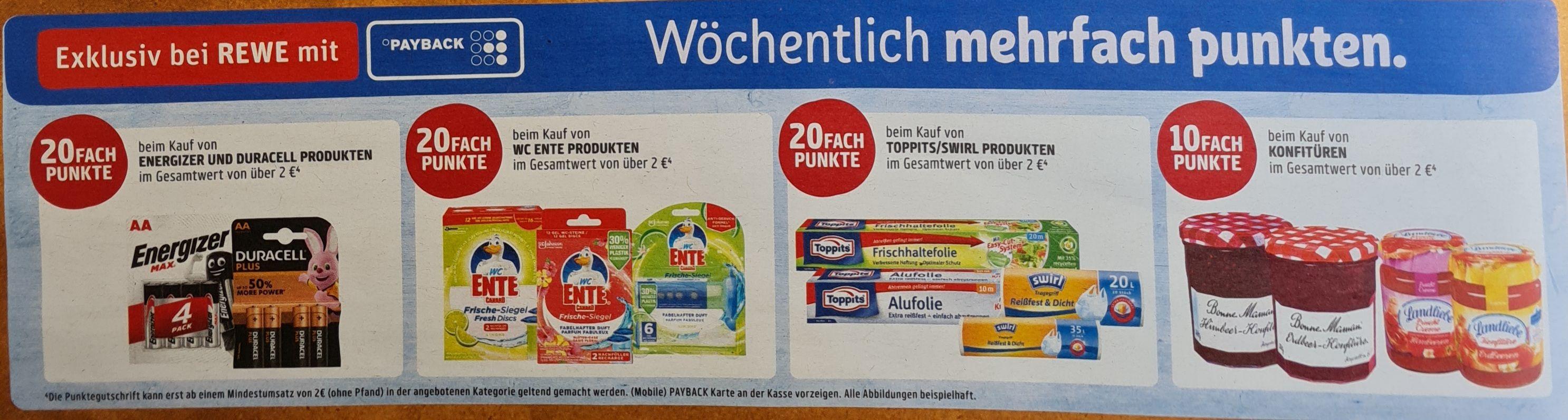 REWE 10Fach und 20Fach ab 2€ auf verschiedene Punkte UND 30% Rabatt auf Miracle Whip ab 17.05