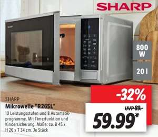 Sharp R26SL Mikrowelle 800 W 20 L ab 17.05 Lidl
