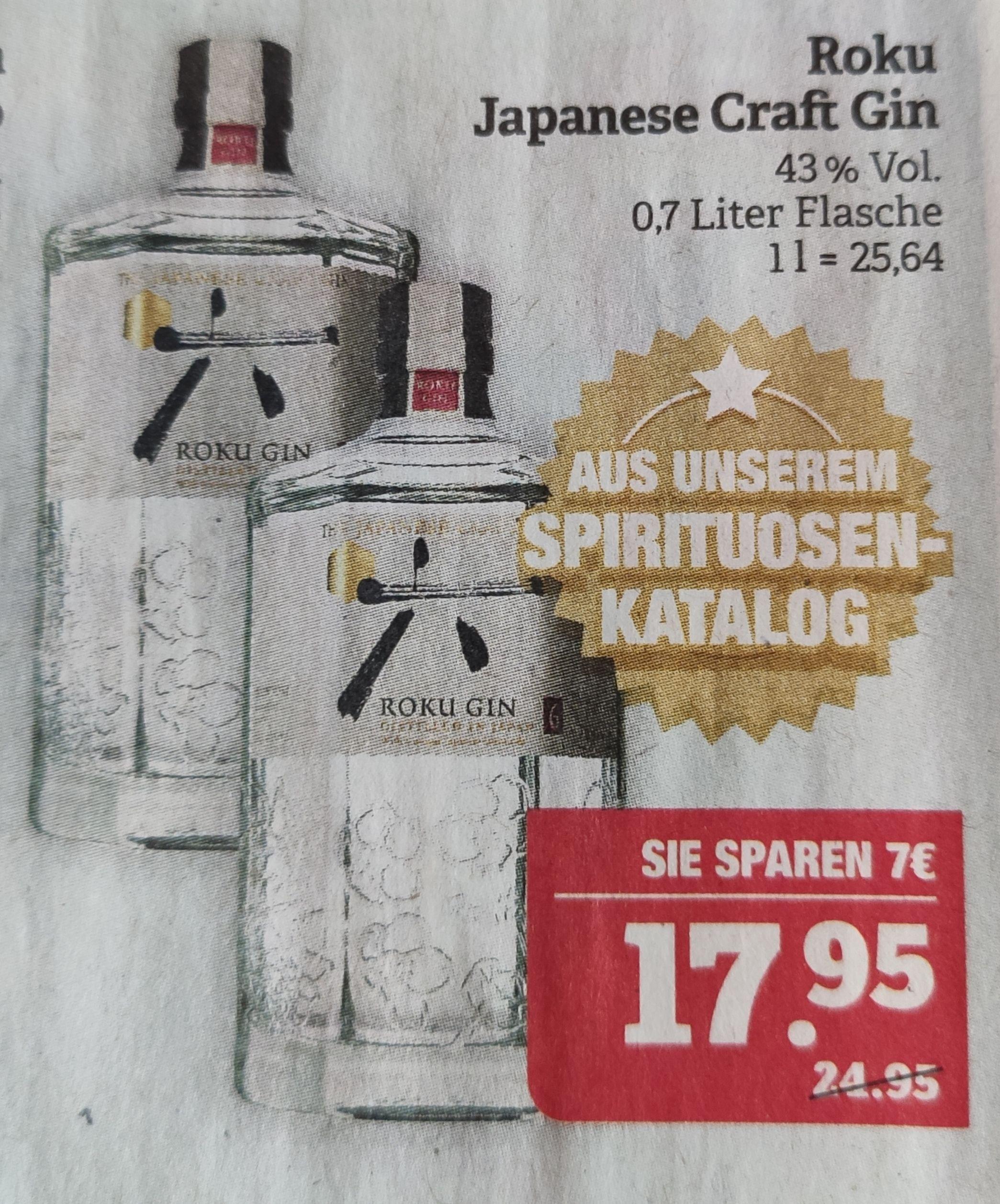 [Marktkauf] Roku Gin 0,7 L 43% Vol. ab 17.05.