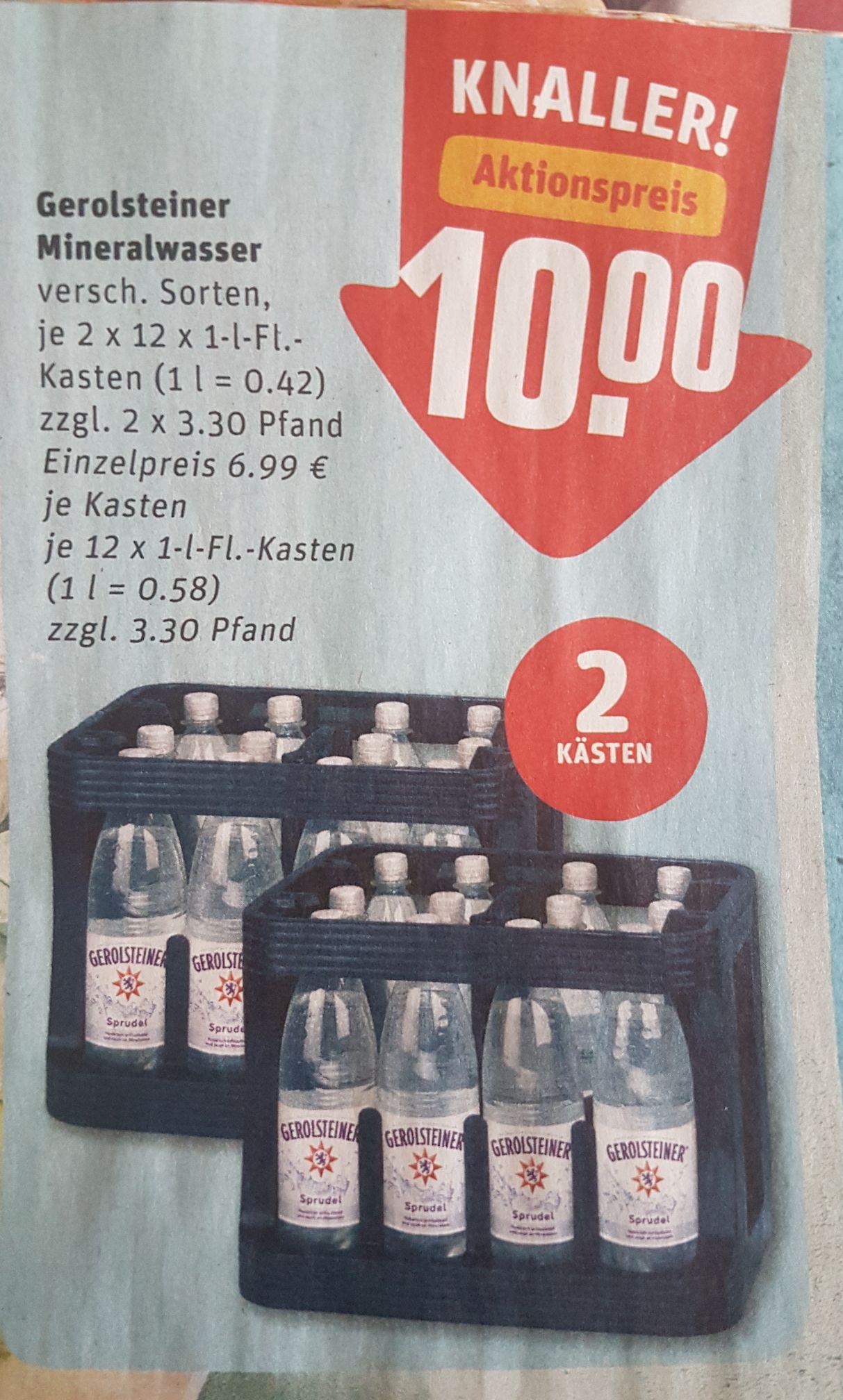 REWE- 2× Gerolsteiner Mineralwasser für 10€