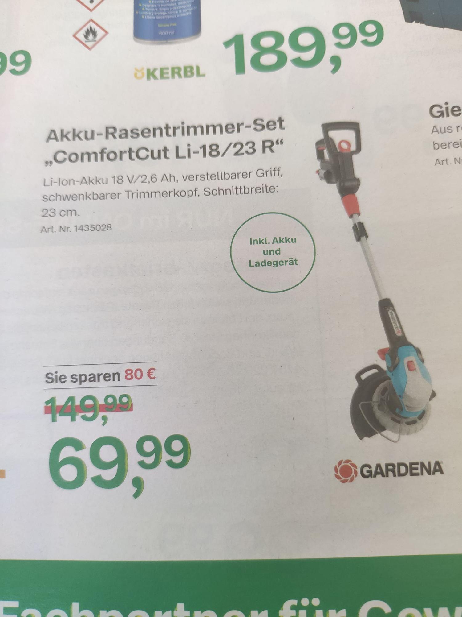 Gardena ComfortCut Li-18/23R Rasentrimmer inkl Akku und Ladegerät BayWa Baustoffe Bayern