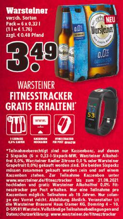 [Lokal] Warsteiner 0,0% zwei Sixpacks kaufen, Fitnesstracker kostenlos z.B. bei Trinkgut