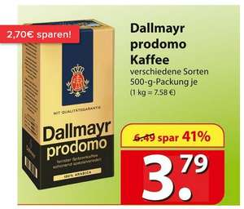 [Famila Nordost] Dallmayr Prodomo - Arabica Kaffee gemahlen 500g