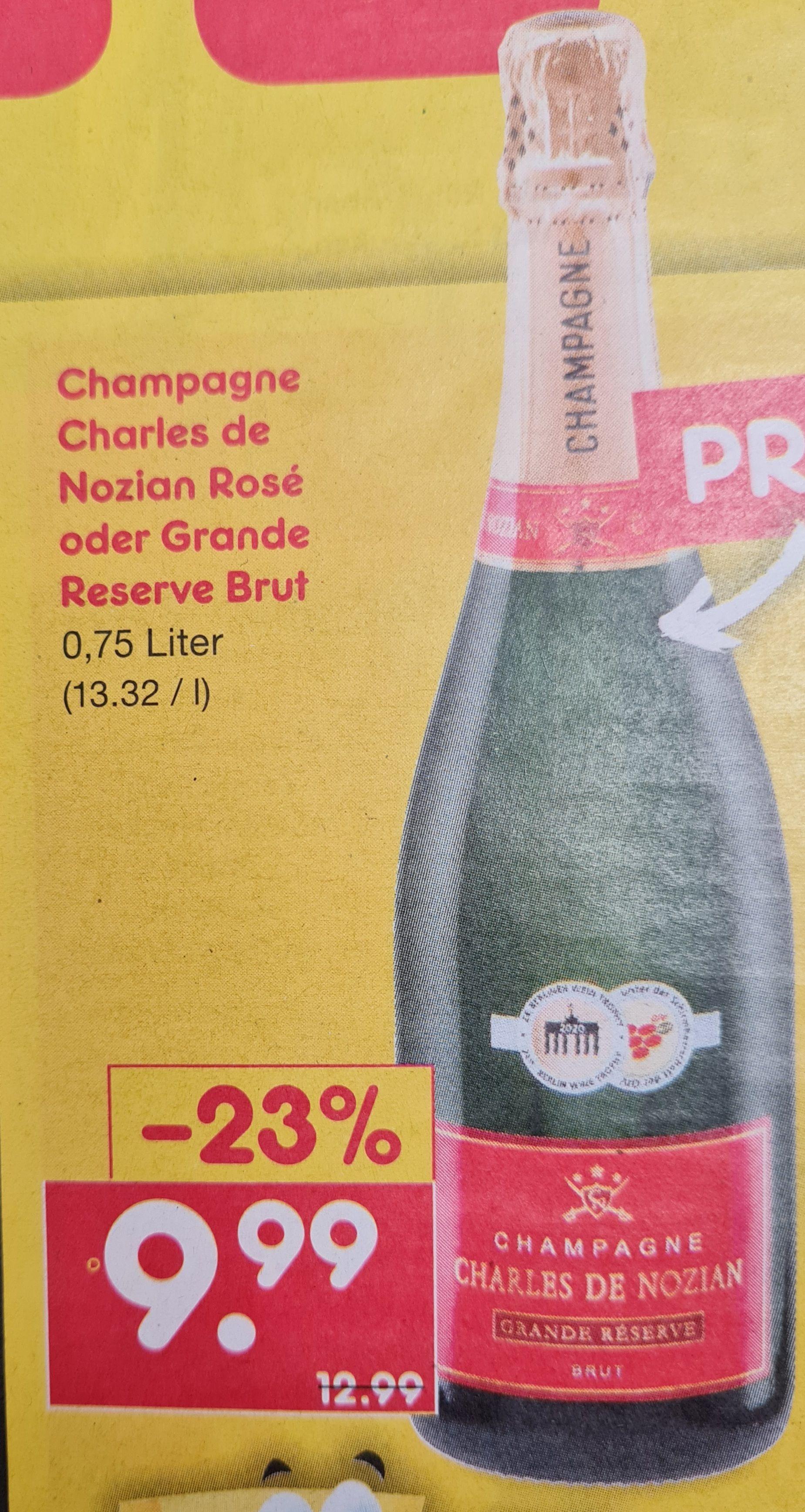Champagne Charles de Nozian Rosé oder Grande Reserve Brut 0,75 l ab 20.05 Netto MD