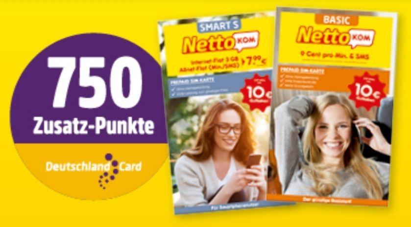 NettoKOM Prepaid Starterpaket mit 750 DeutschlandCard-Zusatzpunkten effektiv für 2,49€ statt 9,99€ [Netto ab 17.05]