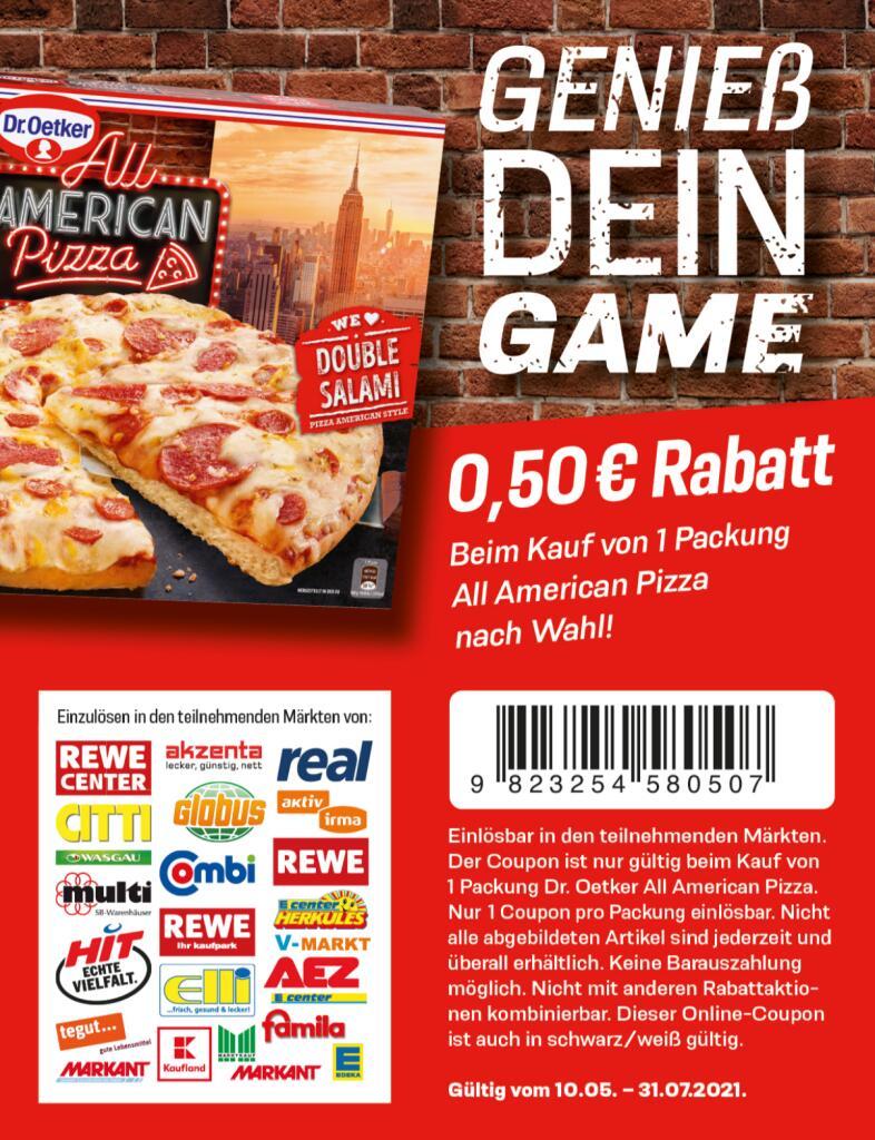 Dr. Oetker All American Pizza - 0,50€ Coupon zum Ausdrucken