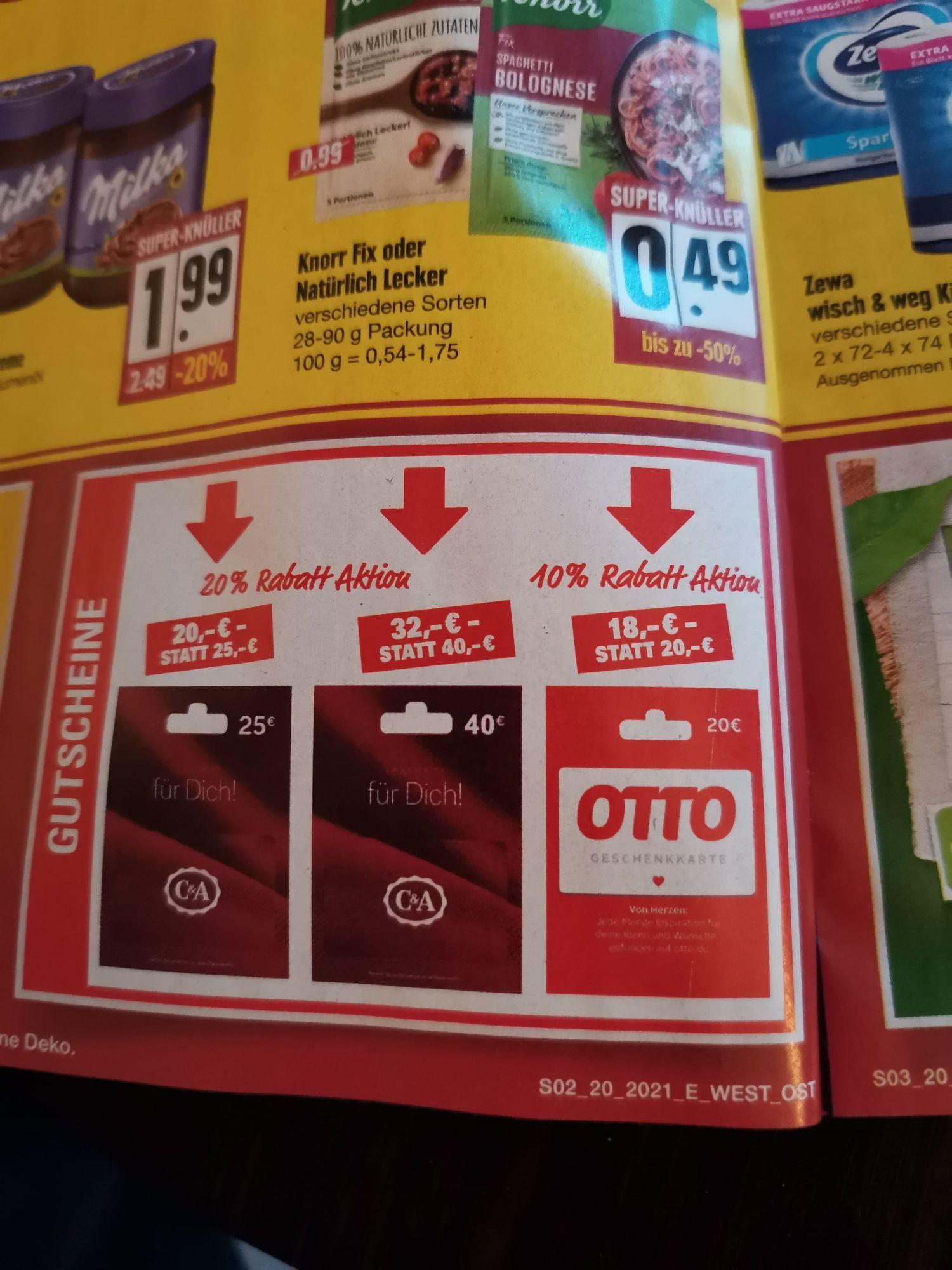 [Edeka-Regional Nordbayern] - 10% Otto Geschenkkarte für 18€ statt 20€. Auch C&A