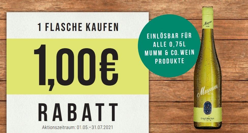 1€ Sofort-Rabatt auf 1 Flasche Mumm Wein 0,75l - gültig bis 31.07.2021