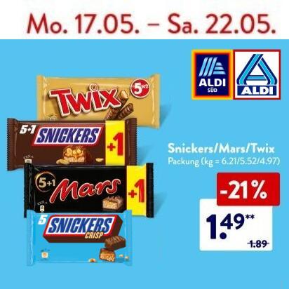[REWE, ALDI-Nord & -Süd] 5+1 Schokoriegel: Snickers, Mars oder Twix (ab 4,97€/kg)