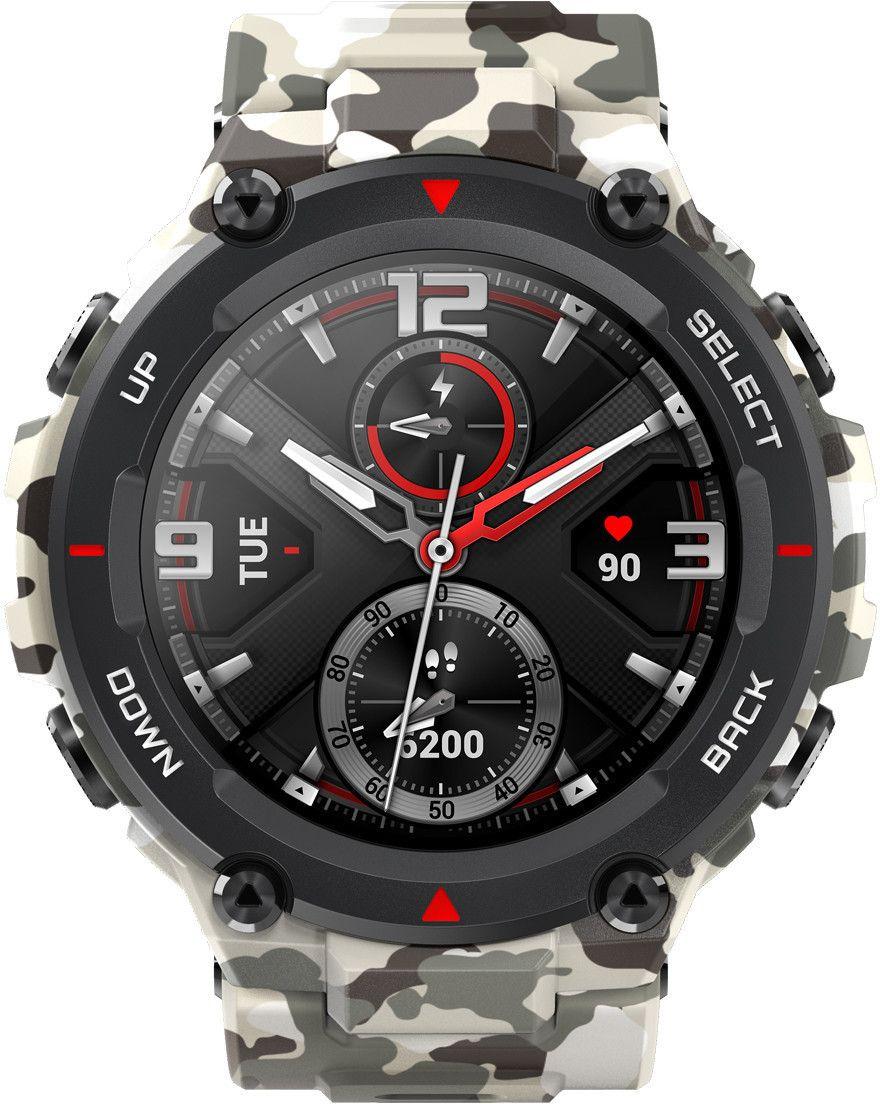 Amazfit T-Rex AMOLED Smartwatch (Herzfrequenz-Sensor, Fitness-Tracker, Always-On-Display, GPS, 5ATM wasserdicht) Camo Green
