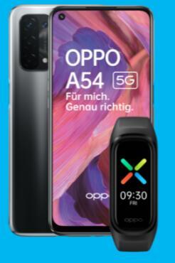 Oppo A54 5G 64GB schwarz/lila + Oppo Band Sport für 1€ einmalig und 13,99€ monatlich im Blau Allnet L 4GB + 50€ Cashback
